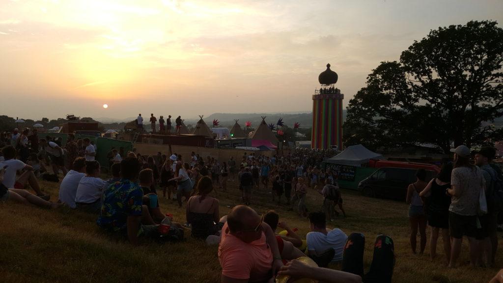 Sunset at Glastonbury festival 2017
